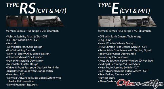 Fitur Honda Mobilio RS & Mobilio E