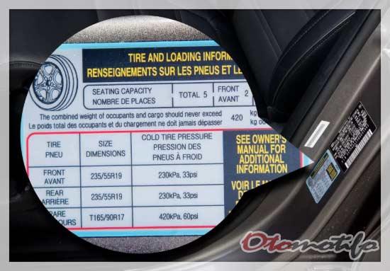 Posisi Informasi Tekanan Ban Mobil
