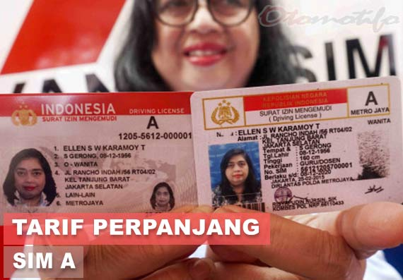 Tarif Perpanjang SIM A